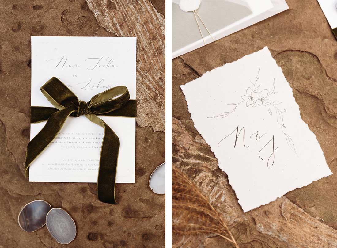 Fine art wedding stationery for boho elopement at Sežana Botanical Garden