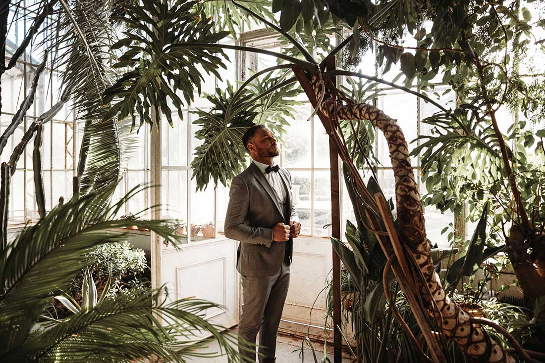 Groom is waiting for his bride at their dream boho elopement in Slovenia