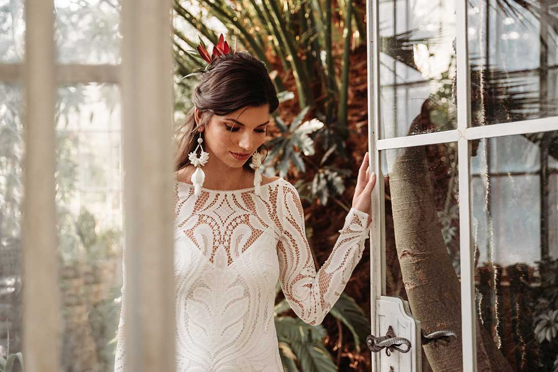 The Bride walks down the aisle to the groom in Sežana Botanical Garden