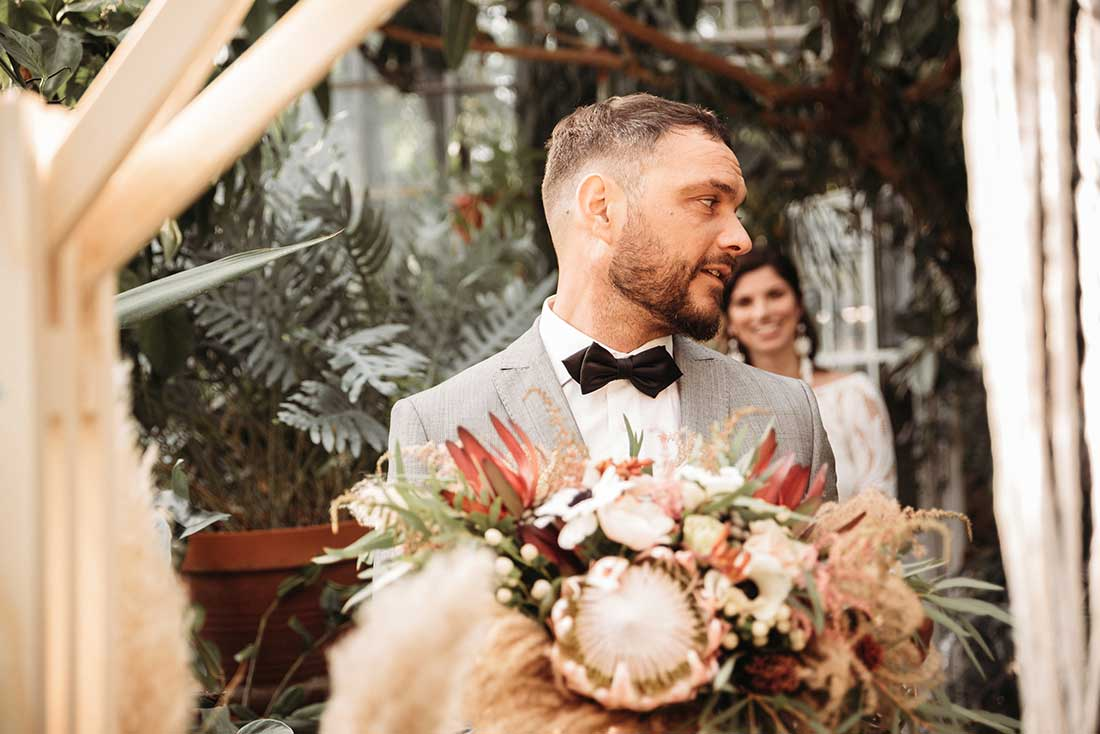 The couple had a emotional first look in a Greenhouse before the ceremony, planned by Petra Starbek (Lake Bled Weddings)