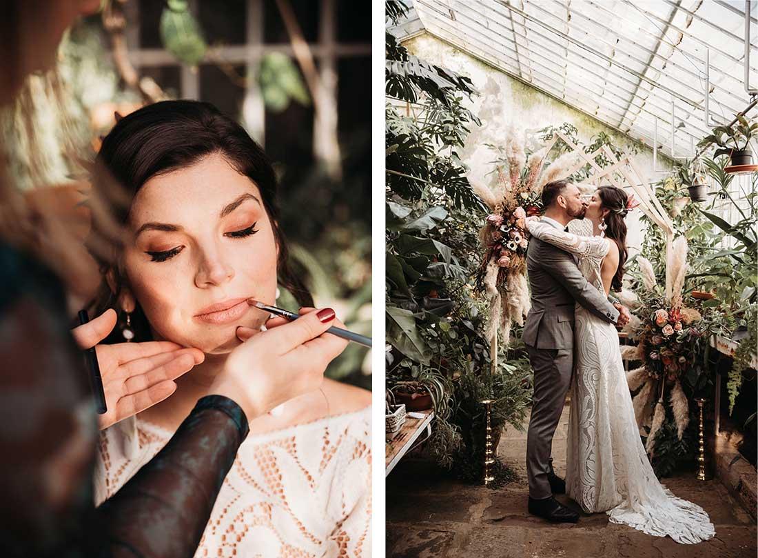 Wedding Couple during the wedding photo session in garden villa