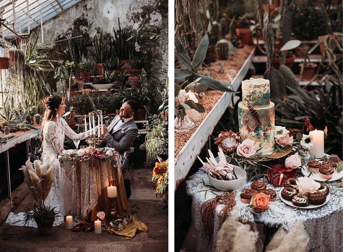 Boho wedding table with a relaxed couple during the wedding dinner. Beauiful wedding design by Petra Starbek from Lake Bled Weddings