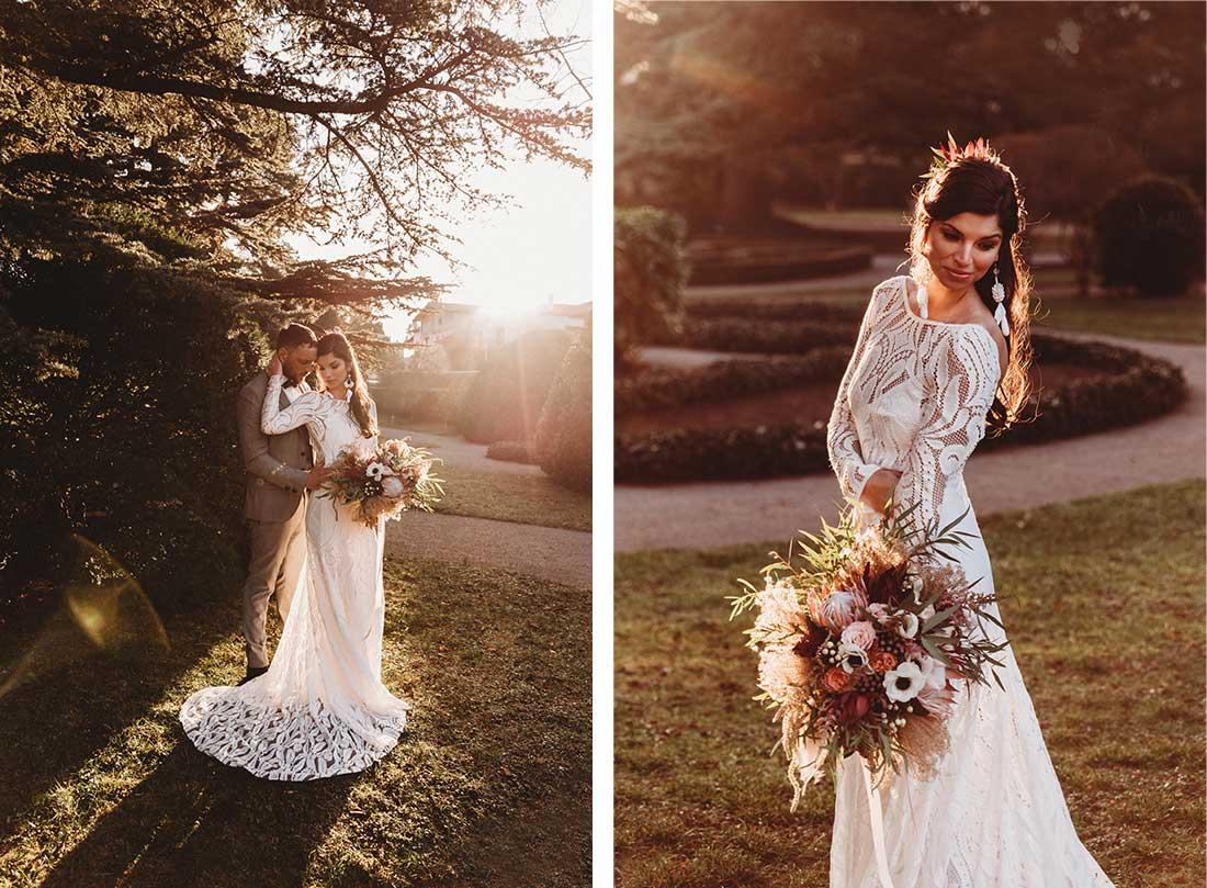 Wedding couple took photos during amazing light in the garden