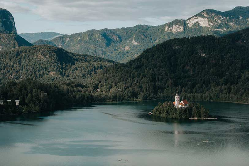 Church on Lake Bled island in ideally for an intimate wedding.