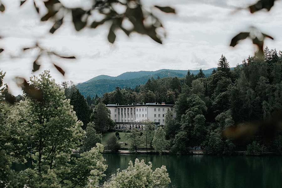 The wedding day starts with a romantic ceremony in the garden of Vila Bled with wonderful views of Lake Bled and the Bled castle.