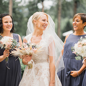 Bride with her bridesmaids getting married in Slovenia at vila Bled