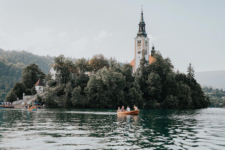 """Rowboats are a fun way to explore the lake and a great way to reach Bled Island. You can also decide to take a boat ride in a traditional boat called """"pletna""""."""