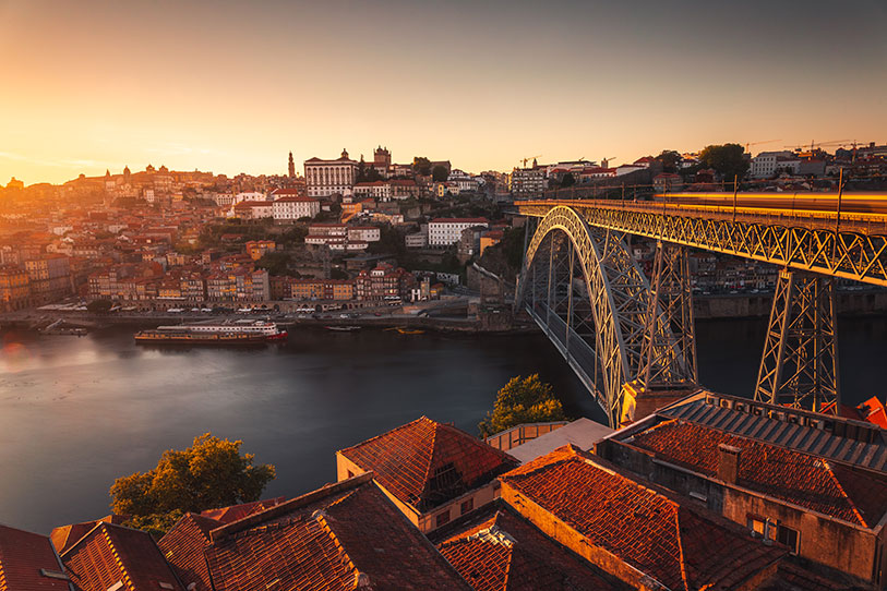 An amazing night photo of Porto town in Portugal during an inexpensive wedding in Europe.