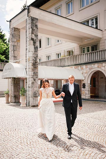 Bride and groom are goint to Lake bled civil ceremony